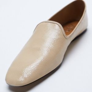 Zara New Flat Squared Toe Loafers Shoes Cream Nude
